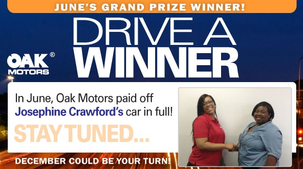 Drive a Winner June 2016 Grand Prize - Oak Motors