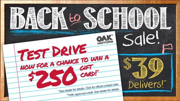 Oak Motors Back To School Sale